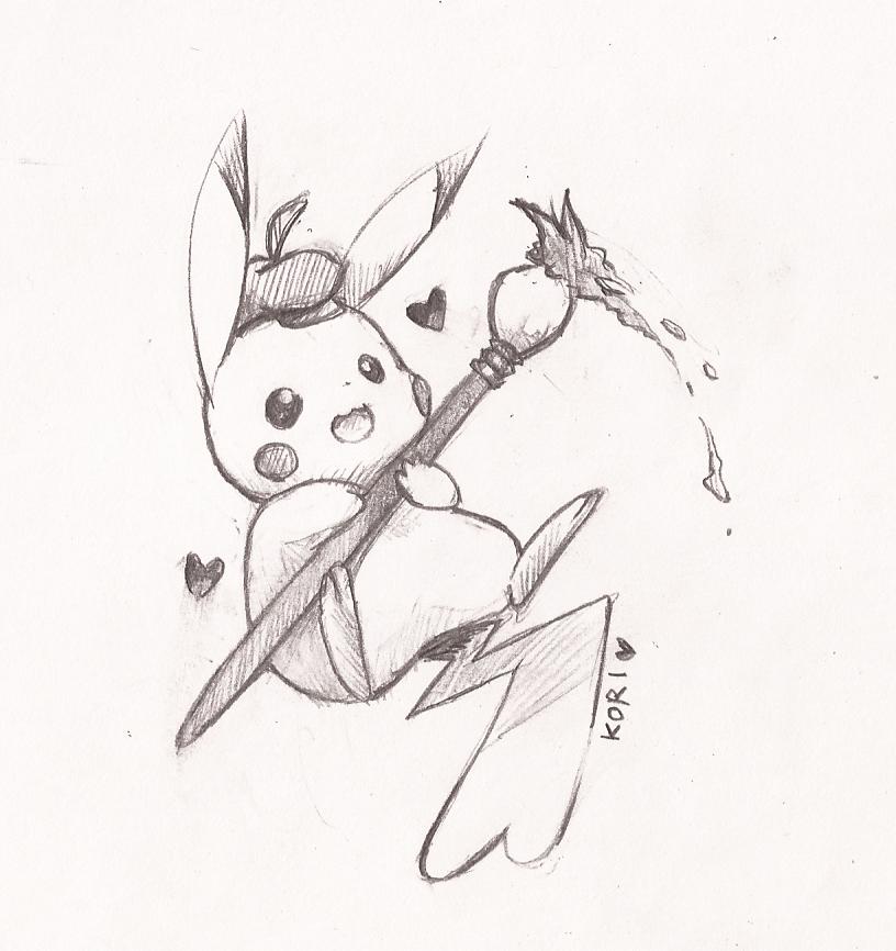 painter pikachu again by kori7hatsumine