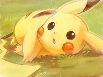 pikachu laying on the grass by KoriArredondo
