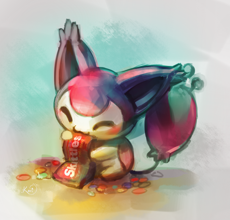 Skitty eating skittles by KoriArredondo