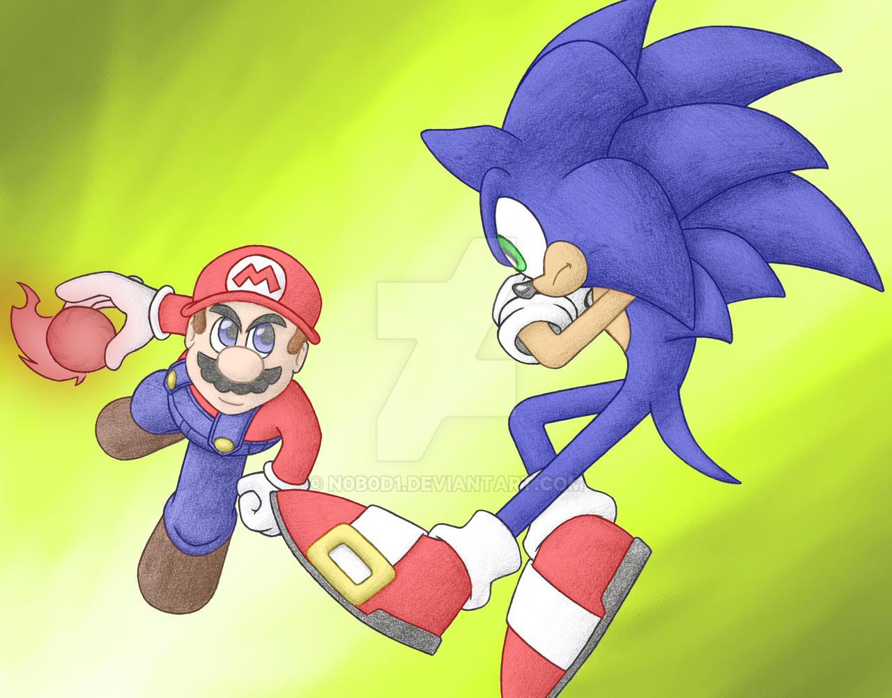 Mario Vs Sonic  coloured by N0B0D1 on DeviantArt