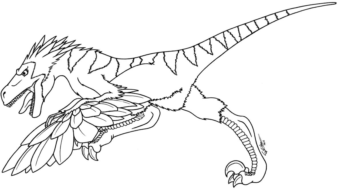Raptor lineart by n0b0d1 on deviantart for Utahraptor coloring page