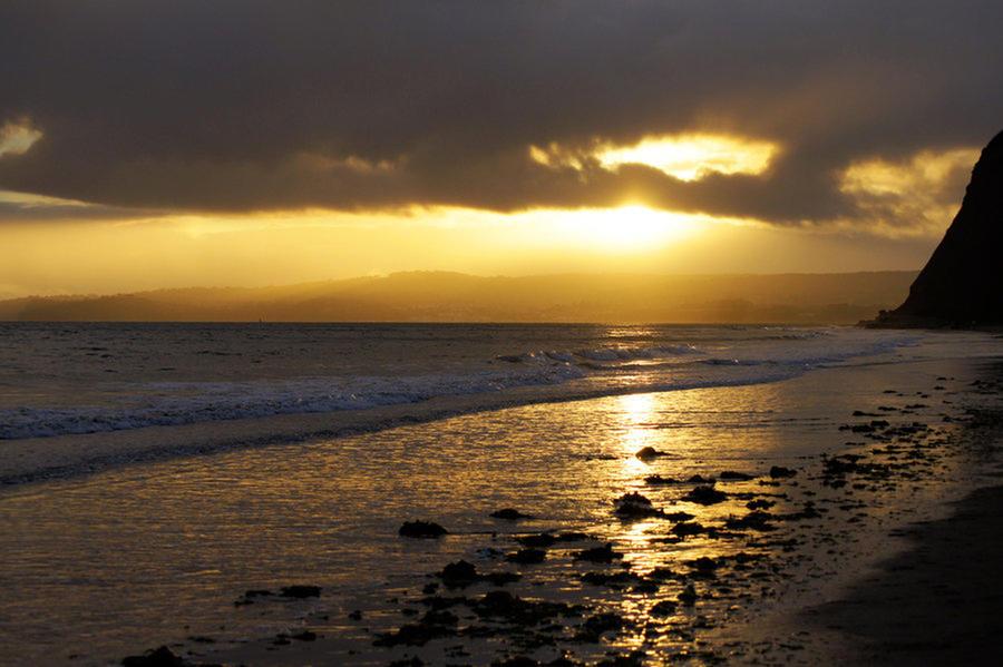 Beach at Dusk by MarmaladePrints