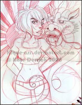 Rising Sun Girl Dragon WIP
