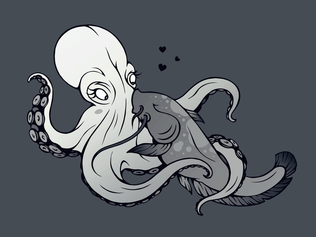 A confused octopus and a gentle catfish in love by Walrossratte