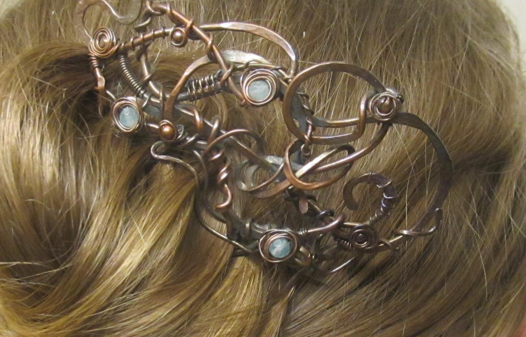 Steampunk hair comb by FluidMetalsStudio