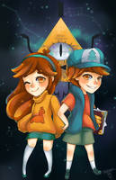Gravity Falls - Dipper, Mabel, and Bill by prototypix