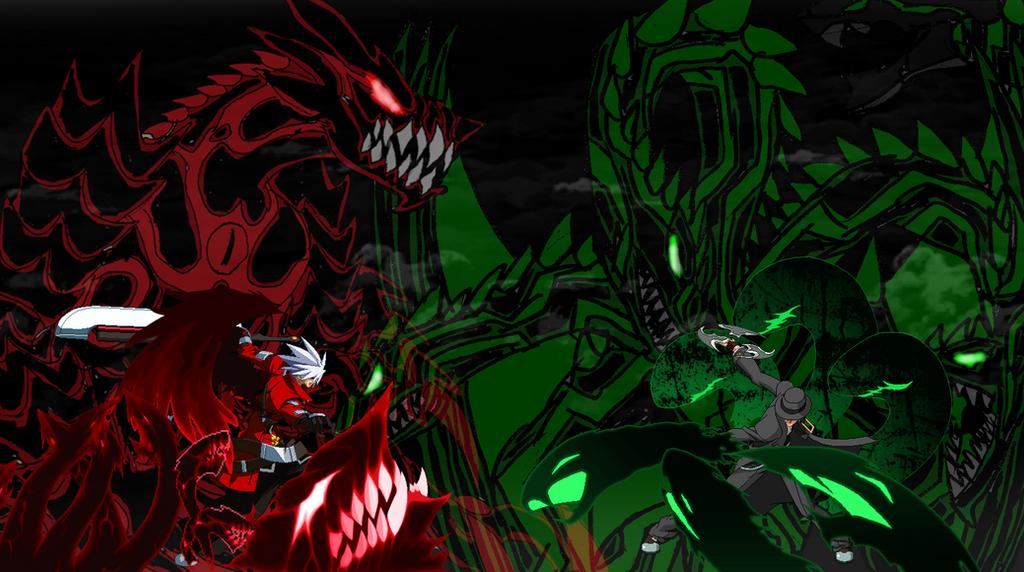 Hazama vs  Ragna BlazBlue
