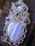 Sculptured Blue Lace Pendant