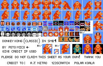 Donkey Kong SMB NES Style Sprite Sheet by EnteiTheHedgehog