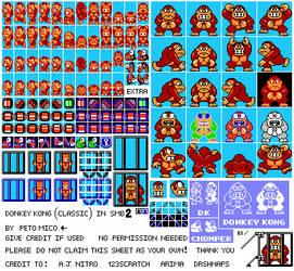 Donkey Kong SMB2 NES Style Sprite Sheet by EnteiTheHedgehog