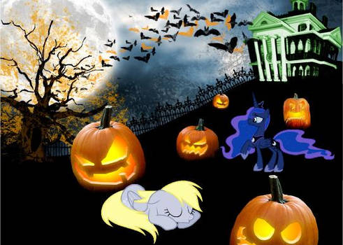 Halloween with Princess Luna and Derpy