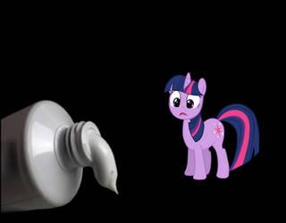 Twilight Sparkle vs Toothpaste Tube by studentofdust