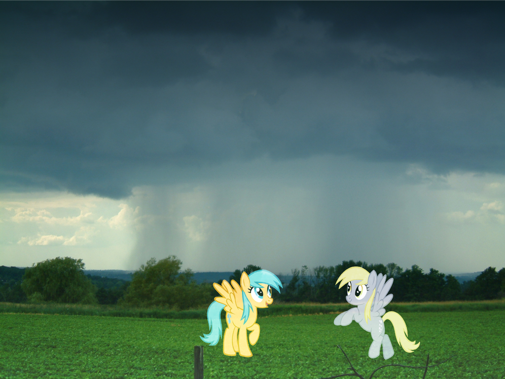Raindrops and Derpy Hooves by studentofdust