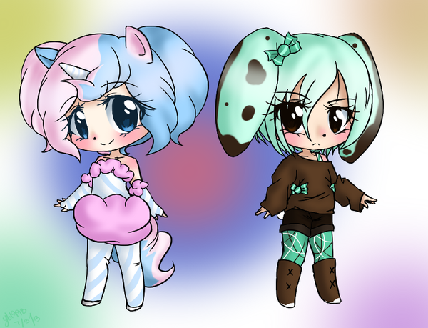 cottoncandy unicorn n choco mint bunny adopts sold by