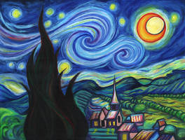 Starry Night in Oil Pastels