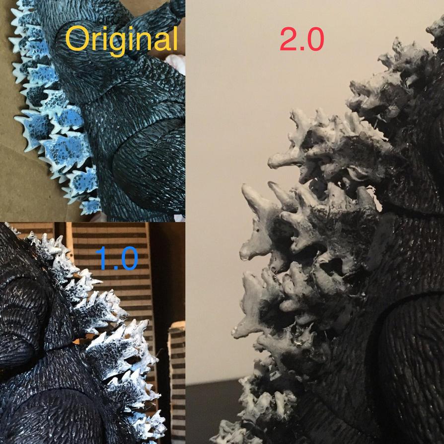 Comparison. Custom Neca Godzilla 1984  by godzilla154