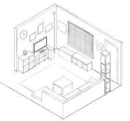 My Living Room Isometric by borschtplz