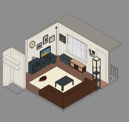 My Living Room Isometric Colored by borschtplz
