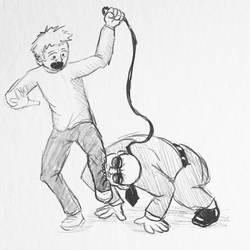 Sketch request-Pitbull attacking man by borschtplz