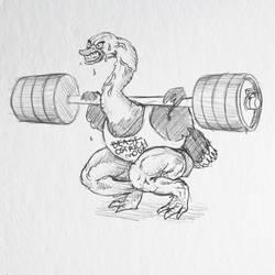 Weightlifting Ostrich by borschtplz