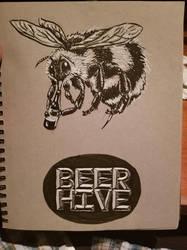 Beerhive Logo Ink on Toned Paper by borschtplz