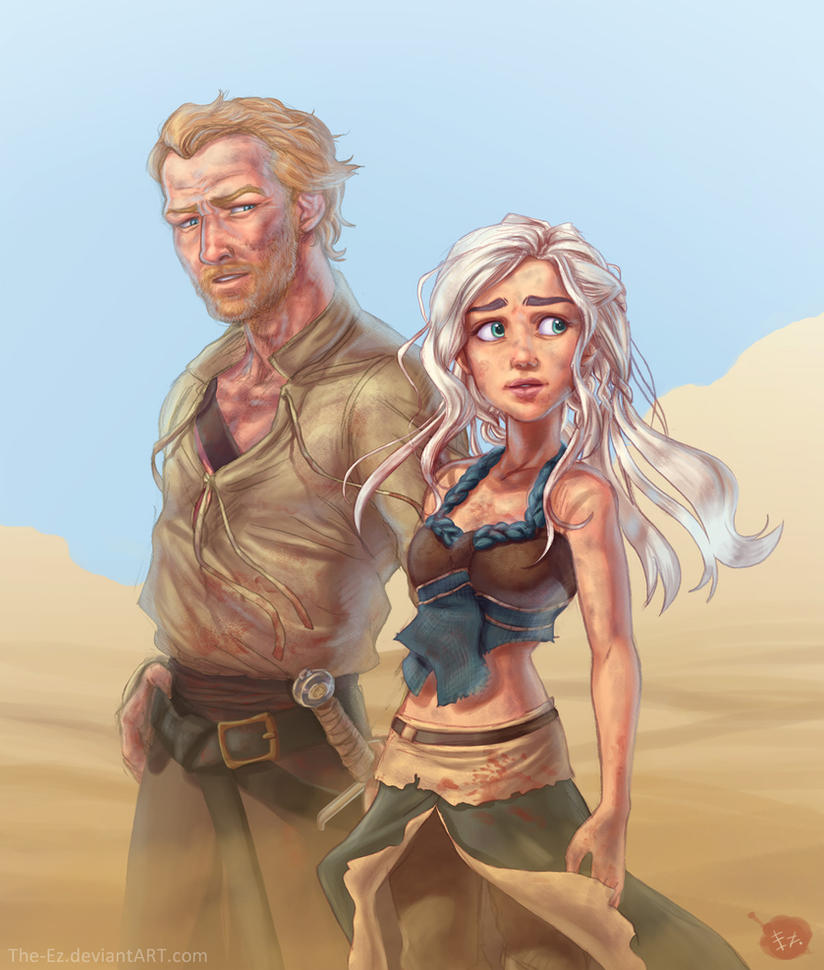 ... No Spoilers] Disney-like drawing of Daenerys and Jorah : gameofthrones
