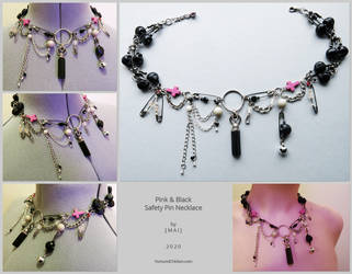Pink and Black Safety Pin Necklace