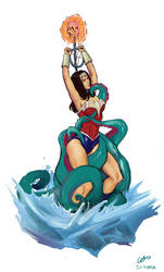 Wonder Woman Captured and in Peril - Commission by HeySerdna