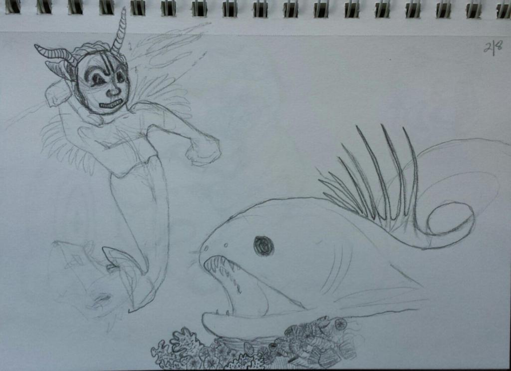 Tiki Merman Vs Spiny Moray WIP by TrippyState