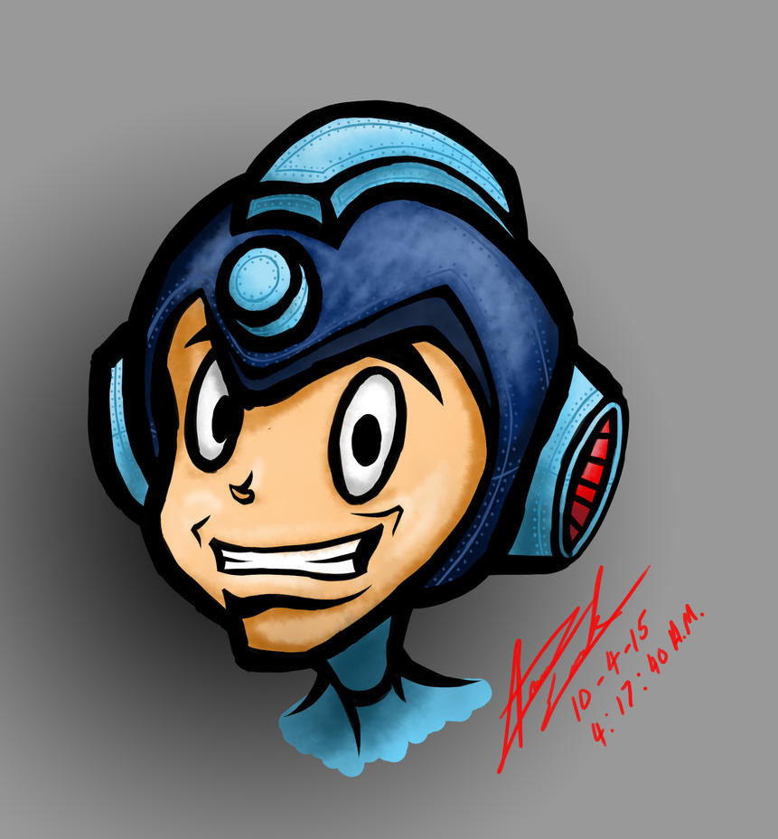 Mega Man Head Sketch by Xprinceofdorknessx