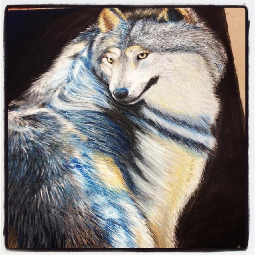 Chalk Pastel Wolf by DragonSmurf