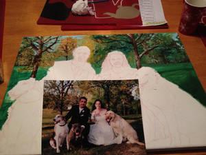 Acrylic Wedding Portrait WIP