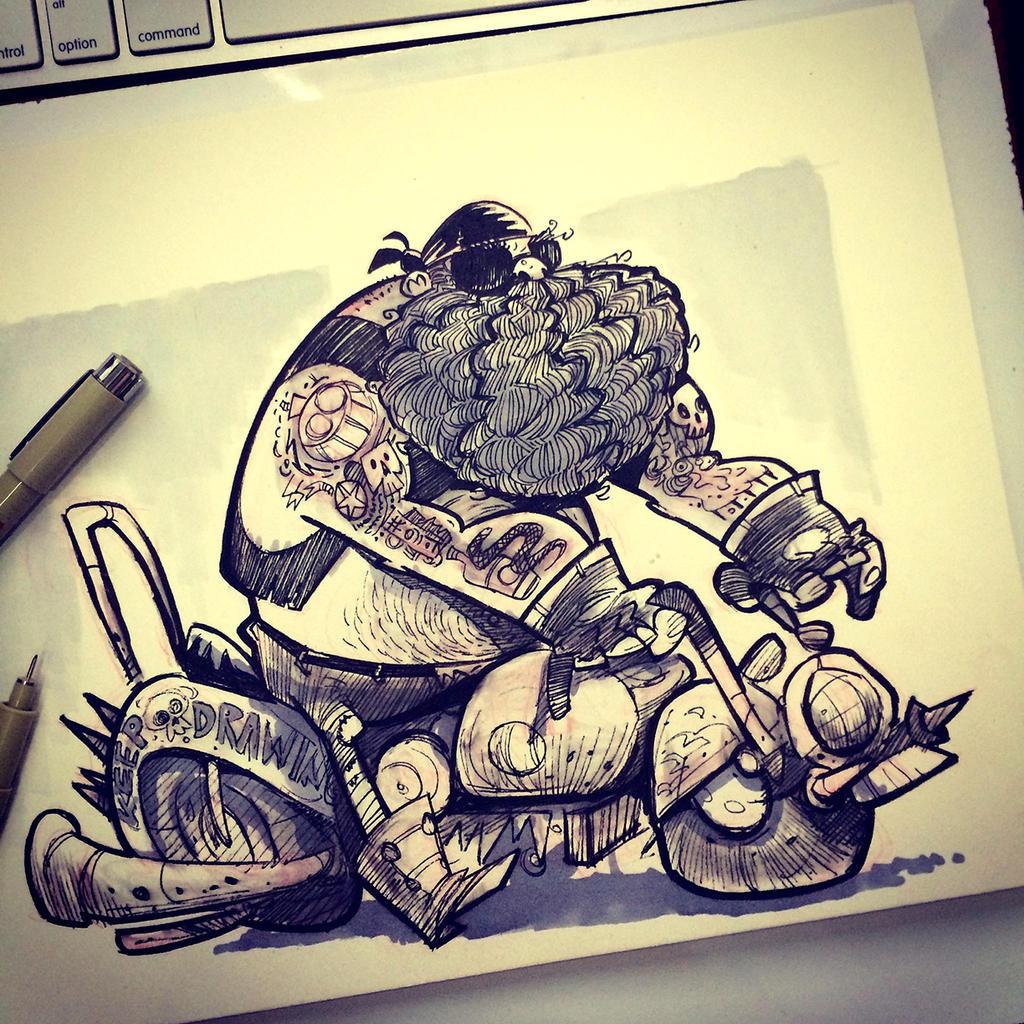 SketchBomb - New Delhi #3 : Outlaw Biker by kshiraj