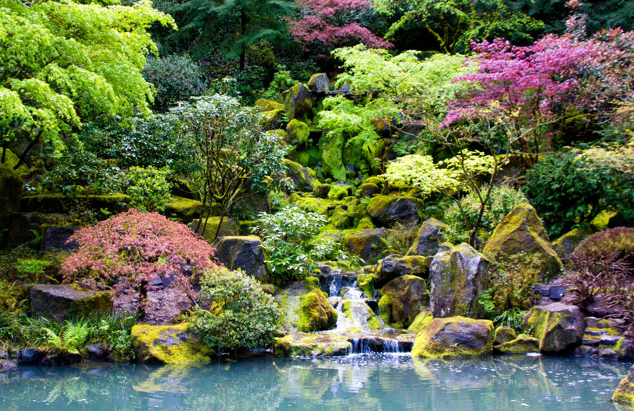 Japanese garden waterfall pdx by doubleagent bob on deviantart for Flowers for japanese gardens