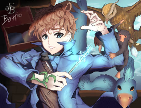 Newton Scamander and his Fantastic Beasts... by HiroSenpaiArt