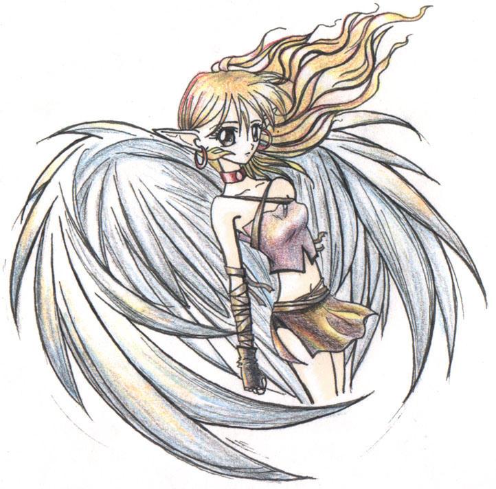 Sad Angel Drawing Sad Angel Coloured by Alora