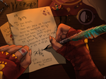 Sphinx writes a letter to his friends