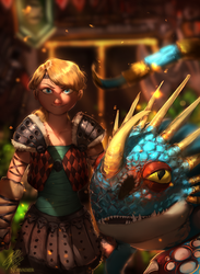 Get Ready! Astrid and Stormfly by Norvadier