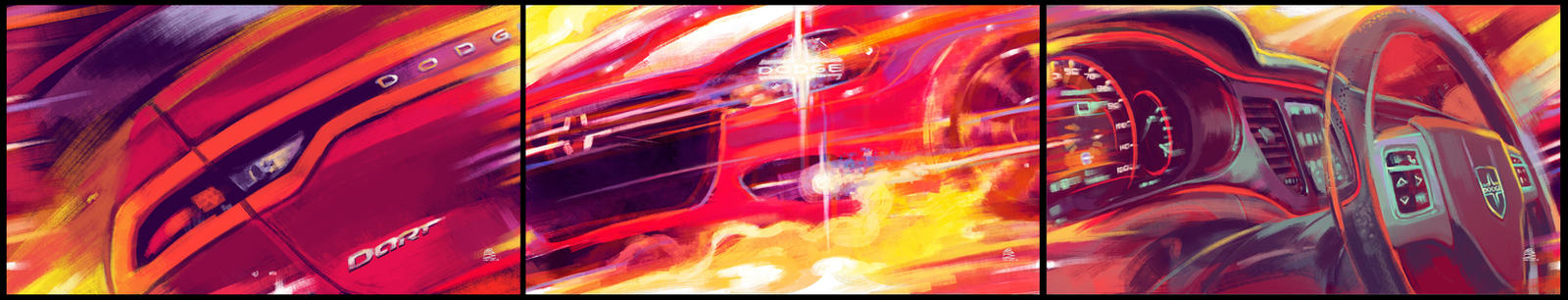 Dodge Dart - triptych by solidgrafi