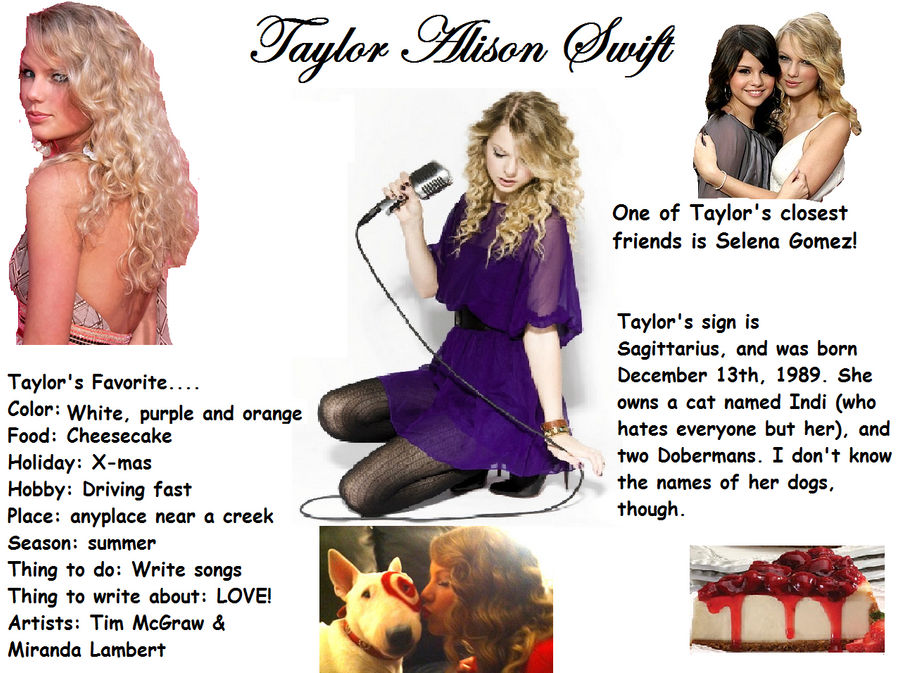 Taylor Swift Bio Picture Thing By Twilightcrzy101 On Deviantart