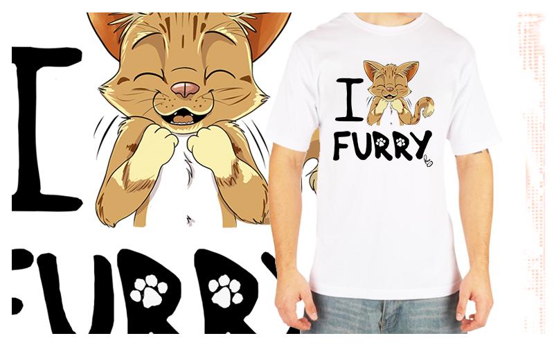 I love FURRY Tshirt by pandapaco