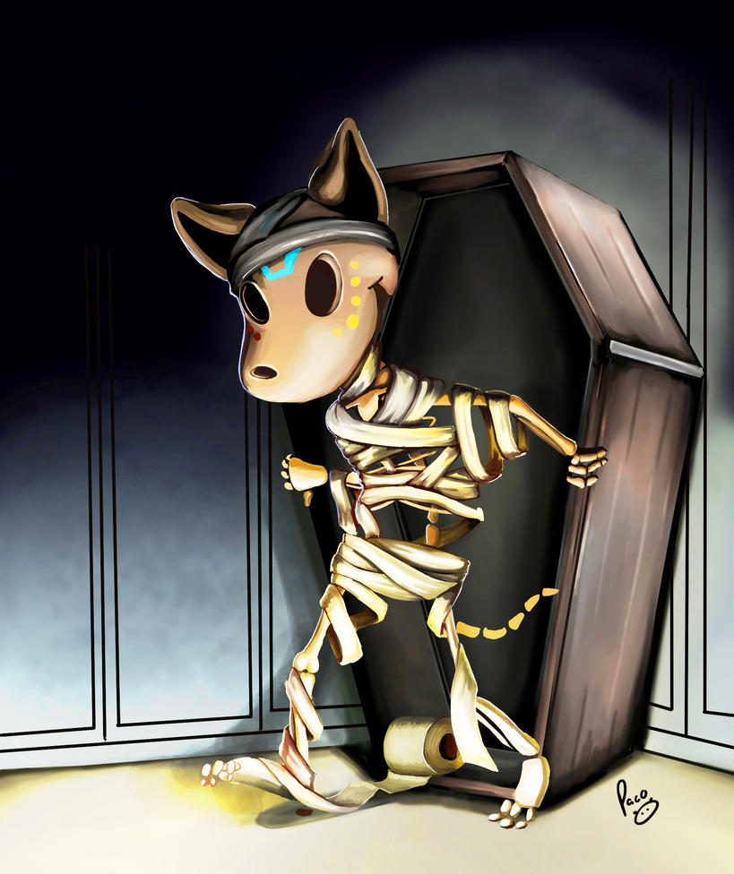 Mr. Bones in his mummy costume by pandapaco