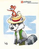 Raccoon ride by pandapaco