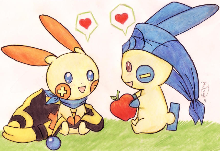 _Plusle and Minun_ by LobinhahChalegre