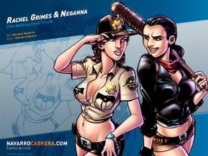 Rachel Grimes and Neganna (The Walking Dead fanart
