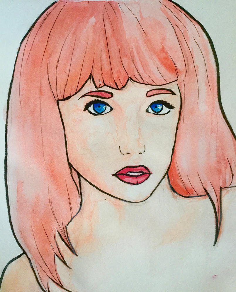 Pink haired lady (watercolor) by LizWright134