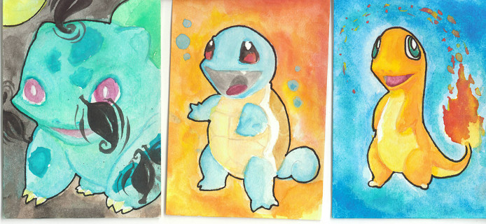 ACEO: Kanto Starters by Boramy
