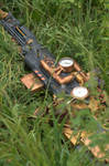 Steampunk Sniper Rifle and goggles - Grass setting