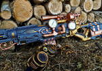 Steampunk Sniper Rifle - Wood setting close up
