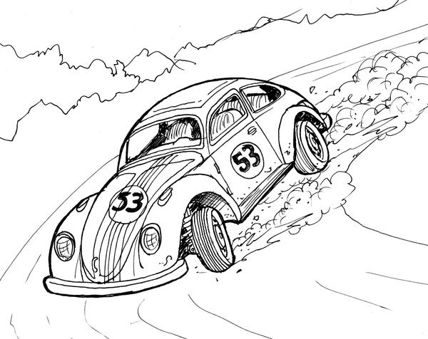 Herbie Car Coloring Pages : Pin disney herbie colouring pages on pinterest
